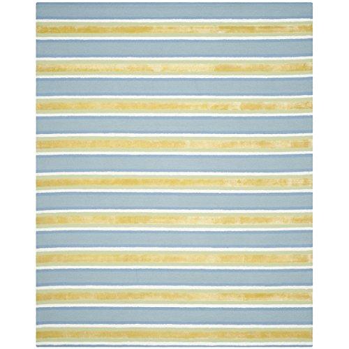 Safavieh Isaac Mizrahi Beach Stripe Wool Rug, 5-Feet by 8-Feet, Yellow/Blue