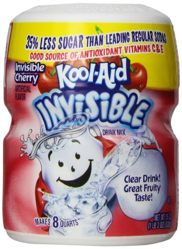 Kool-Aid Drink Mix, Sugar Sweetened Invisible Cherry, 19-Ounce Container (Pack of 4)