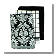 Ritz Damask Egyptian Flat Kitchen Towel Set, 3-Piece
