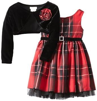 Youngland Baby-Girls Infant Metallic Taffeta Dress, Red/Black, 24 Months