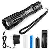 LE® 1000lm Rechargeable CREE XM-L2 T6 LED Flashlight, Portable, Zoomable, 5 Light Modes, 10W, 18650 Battery and Charger Included, Water Resistant Camping Torch, LED Handheld Flashlights