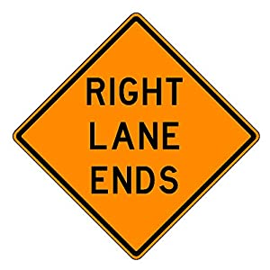 MUTCD W9-1 Orange Right Lane Ends Sign, 3M Reflective Sheeting, Highest Gauge Aluminum,Laminated, UV Protected, Made in U.S.A