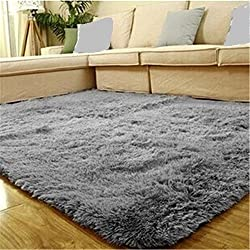 pusheng 80cm x 120cm weicher Hochflor Shaggy Teppich Anti Rutsch Matte Fußmatte Boden Teppiche Teppich für Schlafzimmer Wohnzimmer grau