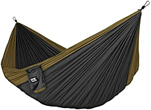 Neolite Double Parachute Hammock - Lightweight Portable Nylon Camping Hammocks for Backpacking, Travel, Yards. Straps & Carabiners Included (Bronze/Black)