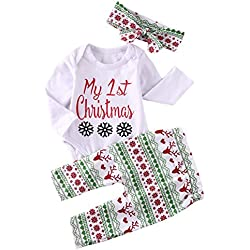 baby girls my first christmas outfits bodysuits snowflake leggings headband set xmas clothes