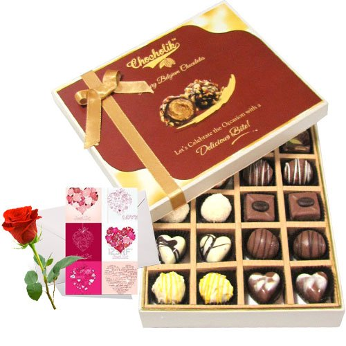 Milk And White Collection Of Chocolates With Love Card And Rose - Chocholik Belgium Chocolates
