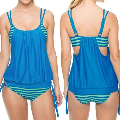New HOT Sale!MOKINGTOP,Canserin Women Striped Splicing Spaghetti Strap Swimwear