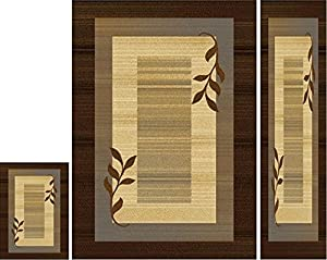 Home Dynamix 602J-530 3 Piece Royalty Collecton Area Rug Set, Brown/Blue