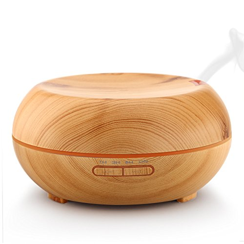 Urpower Wood Grain 7 LED Color 4 Timer Settings Essential Oil Diffuser
