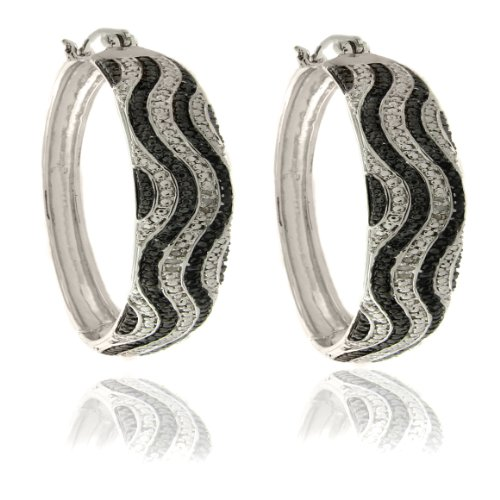 Silver Overlay Diamond Accent Black and White Wave Hoop Earrings