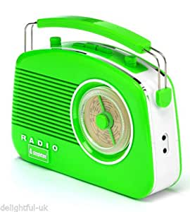 Steepletone Brighton 1950's Portable Retro Style Rotary Radio - Green/White