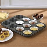 Chicago Metallic Non-stick 12 Cup Surprise Cupcake or Muffin Pan, 2-pack