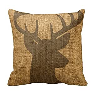 Rustic Decorative Pillow Covers : Amazon.com: Decorpillows Rustic Buck Silhouette Throw Pillow Cover 18