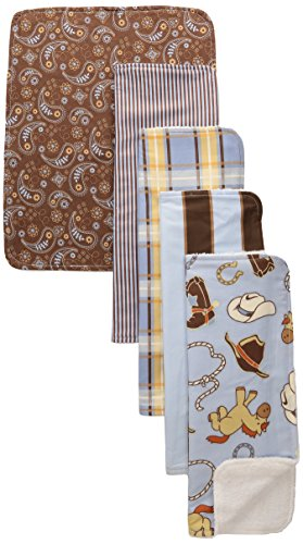 Trend Lab 5 Piece Burp Cloth Bundle Box Set, Cowboy Baby - 1
