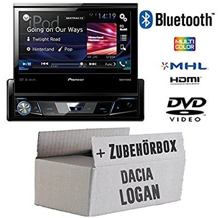 Dacia Logan-Pioneer avh-x2600bt X7800bt-1DIN de 7pouces USB Bluetooth DVD-Autoradio-Kit de montage
