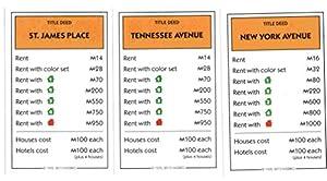 Amazon.com: Monopoly Orange Deeds - Tennessee Avenue, St. James Place