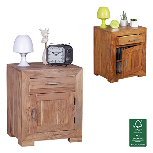finebuy nachttisch massivholz akazie design nachtkommode 60 cm hoch 50 cm breit schublade t r. Black Bedroom Furniture Sets. Home Design Ideas