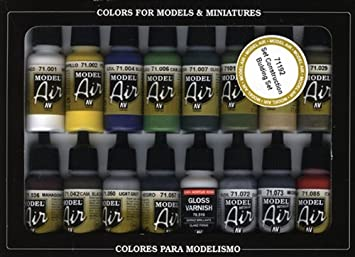 Vallejo Model Air Building Set de peinture acrylique pour air brush – Couleurs assorties (Lot de 16)