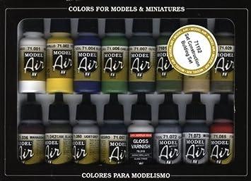 Vallejo Model Air Building Set de peinture acrylique pour air brush–Couleurs assorties (Lot de 16)