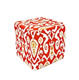 Divine Designs Ikat Pouf, Red