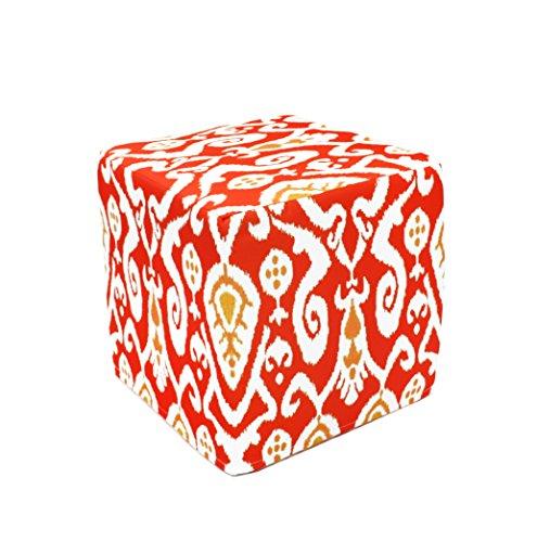 Divine Designs Ikat Pouf, Red - 1