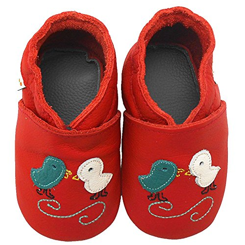 Sayoyo Baby Chicks Soft Sole Leather Infant Toddler Prewalker Shoes (Red, 0-6 months) - 1
