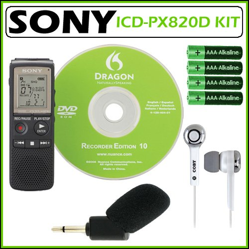 Sony ICD-PX820D 2GB Digital Voice Recorder with Dragon Naturally Speaking 10 + Accessory Kit