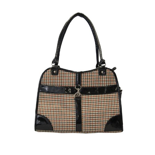 Houndstooth Print Tote Pet Dog Cat Carrier/Tote Purse Travel Airline Bag -Brown-Medium front-602730
