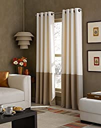 Curtainworks Kendall Color Block Grommet Curtain Panel, 95 inch, Ivory