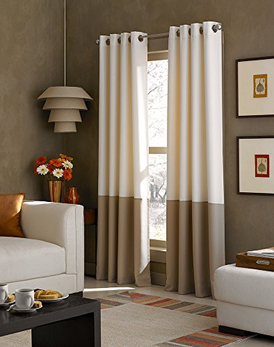 Curtainworks Kendall Color Block Grommet Curtain Panel, 108 inch, Ivory (Grommet Panel Curtains compare prices)