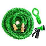 GreenThumbing 50ft Strongest Expandable Hose, Heavy Duty Double Latex Layers, Flexible, Brass Fittings, Expanding Garden Water Hose, Includes 8-Pattern Spray Nozzle & Hanger