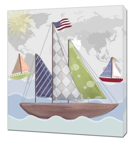 "Doodlefish Gallery-Wrapped 18""x18"" Wall Art, Regatta"