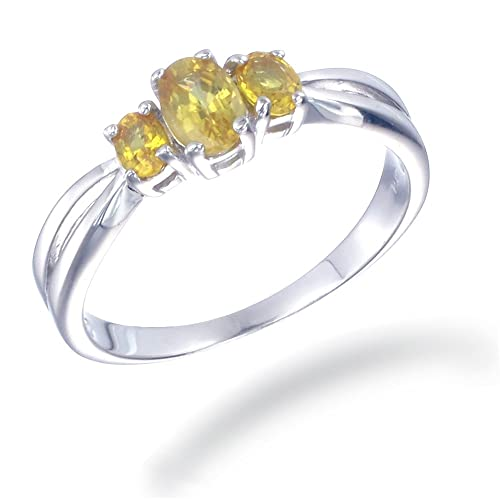Click to buy 1 CT 3 Stone Yellow Sapphire Ring in Sterling Silver from Amazon!
