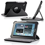 MoKo 360 Degrees Rotating Stand Case for Samsung GALAXY Tab 2 7.0, Black (with Vertical and Horizontal Stand and Stylus Loop)
