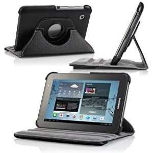 MoKo 360 Degrees Rotating Stand Cover Case for Samsung GALAXY Tab 2 7.0, BLACK (with Vertical and Horizontal Stand and Stylus Loop)