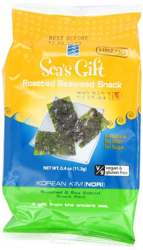 Sea's Gift Korean Seaweed Snack, Kim Nori, Roasted and Sea Salt, 0.4-Ounce (Pack of 12) image
