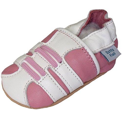 Bimbo morbido pelle scarpe scamosciato - Rosa e Bianco - design Scarpe Sportive - Dotty Fish - ragazza - 0-6 Mesi a 2-3 Anni