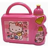 HELLO KITTY GIRLS SCHOOL LUNCH BOX SANDWICH BAG + SPORTS BOTTLE SET PINK NEW