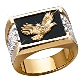 Wings Of Glory Men's 14K Gold and Sterling Silver Bald Eagle Ring - size 8