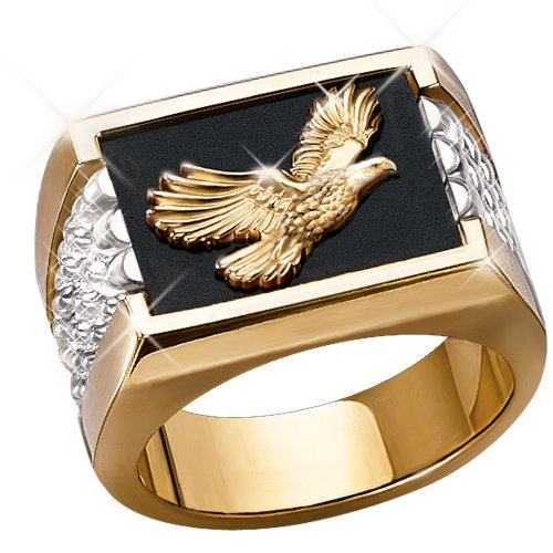 Wings Of Glory Men's 14K Gold and Sterling Silver Bald Eagle Ring - size 13
