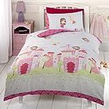 Girls Pink Fairy Castle Fairy Tale Princess Single Duvet Cover Bedding Bed Set