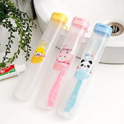 Okayji Portable Soft Plastic Antibacterial Anti-Dust Toothbrush Case Cover Box with Carry Handle - Pack of 3 (Random Colours)