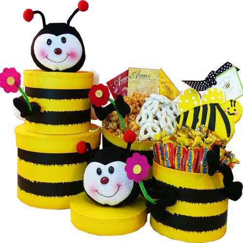 Queen Bee Honey Bee Gift Tower - Gourmet Food Gift Basket
