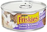Friskies Cat Food Savory Shreds Turkey & Cheese Dinner in Gravy, 5.5-Ounce Cans (Pack of 24)