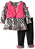 Young Hearts Baby-Girls Infant 2 Piece Zebra Print Shirt And Pant,Black,18 Months