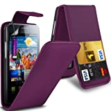 Gadget Giant Samsung Galaxy S2 i9100 Purple PU Leather Flip WALLET Case Cover & LCD Screen Protector & Touch Screen Stylus - 2 Internal Card Slots