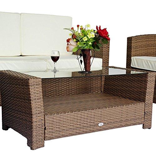 Set mobili da giardino in poly rattan 14 pz tavolino divano poltrona con cuscino nero marrone - Mobili da giardino rattan economici ...