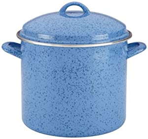 Paula Deen Signature Enamel on Steel 12-Quart Stockpot, Blueberry Speckle