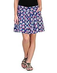 Kiosha Blue Cotton Short Skirt For Women
