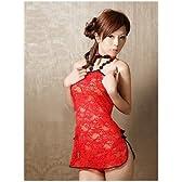【赤花柄レースのミニスカチャイナドレス c250】
